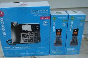 NEW Motorola ML1000 4-Line Unison Base Station + 2 ML1200 Cordless Handsets