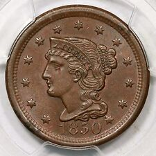 1850 N-1 PCGS MS 63 BN Braided Hair Large Cent Coin 1c