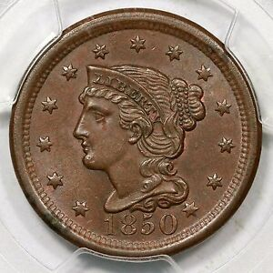 1850 N-1 PCGS MS 63 BN Braided Hair Large Cent Coin 1c