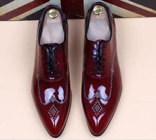 Men's British Loafer Pu Leather Pointed Toe Lace UP Low Block Heel Wedding Shoes
