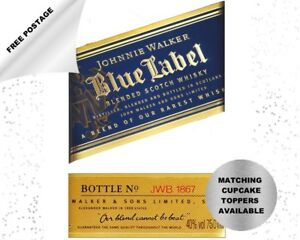 Johnnie Walker Blue Label Whisky edible icing cake topper - add message