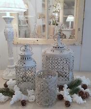 Laterne Windlicht Metall Weiß Shabby Vintage Weihnachten Nostalgie Deko Oval
