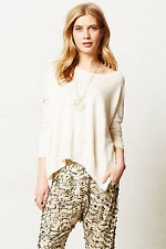 Reese Pullover Size MP Petite, High Low Ivory Lightweight Top Moth Anthropologie