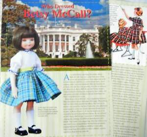 """13p History Article   Original Dress Pattern - 14"""" Betsy McCall Doll - Helen Lee"""