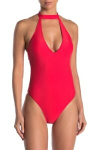 Kendall And Kylie Choker Neck Cutout One Piece Swimsuit: Size S: Red (134)