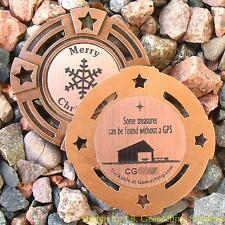 The Christmas Stable TRACKABLE Geocaching GeoMedal Geocoin (Ant. Bronze Colour)
