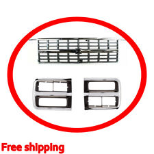 New For CHEVROLET G10 G20 G30 Fits 1992-1996 Front Grille & Headlamp Door Set 3p