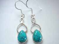 Turquoise Teardrop Infinity Hoop 925 Sterling Silver Dangle Earrings Corona Sun