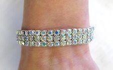 Silver Rhinestone 3 Row Crystal Iridescent Aurora Borealis Stretch Bracelet Prom