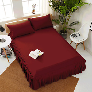 """European Pleated Bed Spread/Bed Skirt 15"""" drop 800 TC 100% Cotton ALL SIZE&COLOR"""