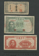 Lot of 3 Antique Vintage CHINA CURRENCY BANKNOTES Circulated Condition