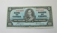 1937 BANK OF CANADA $5 DOLLARS BANKNOTE  BC-25c Coyne Towers XF++
