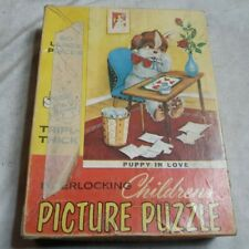 Vintage 1950's Tuco Work Shops PUPPY IN LOVE 60 Piece Childrens Puzzle COMPLETE