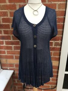 Ladies M&S Size 14-16 Blue Thin Knit Cardigan Short sleeve Immaculate L2
