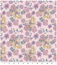 100 % Cotton Disney Princess Fabric Tangled Rapunzel Floral sold by 1/2 yard