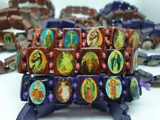 Joblot Wooden Religious Elasticated Bracelets X18 Saints-Jesus-Prayer-Christian