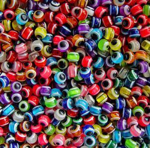 Evil Eye Beads, 10mm round resin beads 100pc