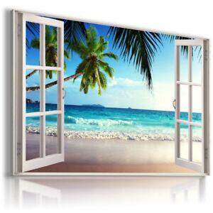 PALMS BEACH SEA OCEAN 3D Window View Canvas Wall Art Picture W608 MATAGA