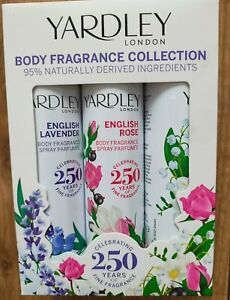 FRAGRANCE YARDLEY BODY MINI COLLECTION 3 x 75ml ENGLISH LAVENDER ROSE LILY BNIB