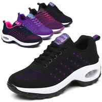 Womens Air Cushion Sport Shoes Running Breathable Mesh Walking Slip-On Sneakers