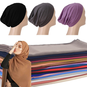 Women Cotton Inner Cap Bonnet Chiffon Scarf Solid Colors Hijab Headscarf Muslim