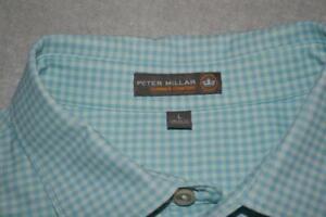 27128-a Mens Peter Millar Golf Polo Shirt Summer Comfort Size Large Green Plaid