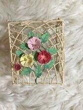 Floral Wire Tissue Box Cover Ceramic Kleenex Holder Square Bronze Ivory Bathroom
