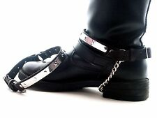 Real Leather BOOT STRAPS Black Silver Biker ROCK chain Gothic buckle Accessory