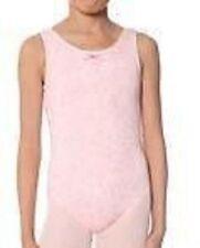 Nwt New Danskin Leotard Leo Tank Gymnastics Dance Pink Glitter Cute Girl M 8 10
