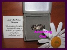 AVON STERLING SILVER GENUINE DIAMOND ACCENT RING SZ 8