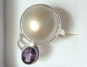Mabe Pearl & Amethyst Ring / Size 7 / 925 Sterling Silver