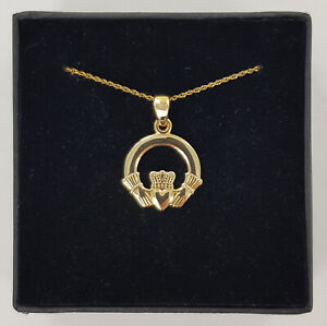 10ct Yellow Gold Solvar Claddagh Pendant Complete With Spiga Chain