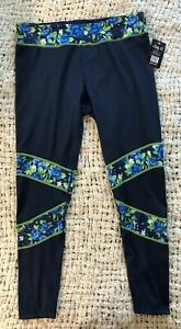 NWT Womens Lady 12 Seattle Seahawks Blue Green Floral Yoga Pants XL NFL Stretch