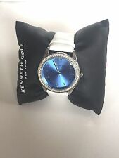 NWT Kenneth Cole NY White Band Blue Face Crystals Women's Watch 10031704 $125