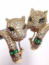 Cute! Solid 14K Yellow Gold Pave White and Emerald Green CZ Panther Earrings