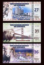 SET 27;31;36 State Dollars 2016 - 3 Note Set - Florida / California / Nevada