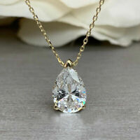 "1 Ct Pear Cut Diamond 14K Yellow Gold Over Solitaire Pendant W/ 18"" Silver Chain"