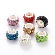 100pcs Charming Polymer Clay Rhinestone European Beads Large Hole Rondelle 12mm