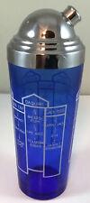 Art Deco Cobalt Blue Glass Cocktail Shaker Chrome 10 Drink Recipes On Side Car