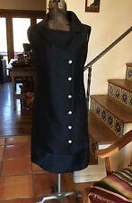 VINTAGE 60S TEAL TRAINA - VERA HICKS GORGEOUS LBD LITTLE BLACK COCKTAIL DRESS M