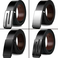 Luxury Mens Square Metal Buckle Genuine Leather Black Belt Strap Waistband Waist