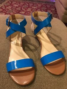 ENZO Angiolini 8.5 ESPADRILLES WEDGE Sandals Rope Blue ANKLE STRAP (TD)