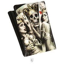 OG Abel OGABEL Men's 2 of a Kind Bifold Wallet Black Crowned Skull Queen of Hear