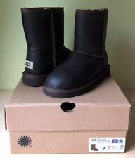 NEW UGG Kid's Classic Short Leather Boot Youth 2 Chestnut Water Resist MSRP $140