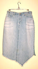 Coolwear Jeans Distressed Wash Lt Blue Denim Skirt w/Asymmetrical Hem-Fringe-9