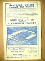 1959 Official Programme- SOUTHEND UNITED v ACCRINGTON STANLEY