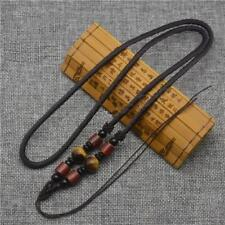 Nylon Necklace Natural gemstone TIGER EYE with Red Sandalwood Black Agate beads