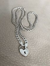 Chunky Silver Necklace Padlock Kerb Curb Chain 20in 19g Italian 925 Mens Unisex