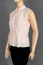 SZ SM AUTH 1950'S SOFT PINK SLEEVELESS COTTON BLOUSE TOP JUDY BOND LOOP COLLAR