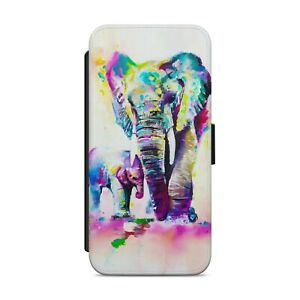 Painted Elephant And Cub WALLET FLIP PHONE CASE COVER FOR iPhone Samsung     224